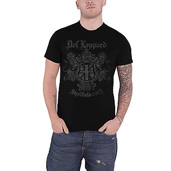 Def Leppard T Shirt Sheffield 1977 Crest Band Logo new Official Mens Black