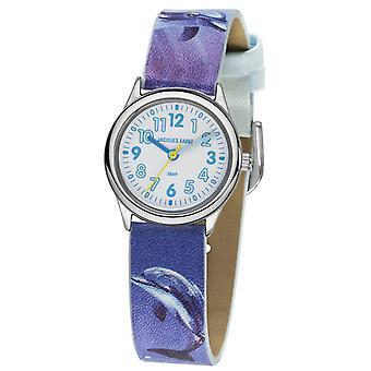 JACQUES FAREL børn Wristwatch analog kvarts pige imiteret læder HCC 321 delfin