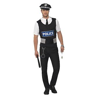 Mens politieagent Instant Fancy Dress Kit