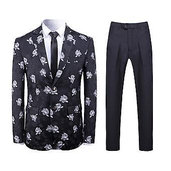 Allthemen Men's 2-Piece Suits Flower Jacquard Business Casual Blazer&Pants