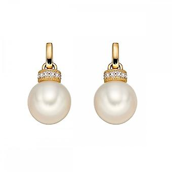 Elements Gold White Pearl Yellow Gold Rondelle Earrings GE2231W