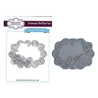 Creative Expressions Pre-Cut Rubber Stamp Sue Wilson UMS605 Cabbage Rose Frame