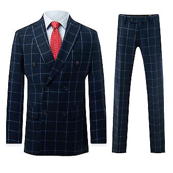 Dobell Mens Navy Windowpane Check 2 Piece Suit Regular Fit Double Breasted Peak Lapel