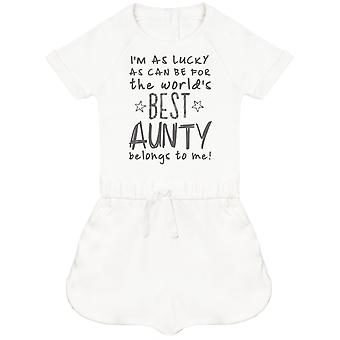 I'm As Lucky As Can Be Best Aunty belongs to me! Baby Playsuit