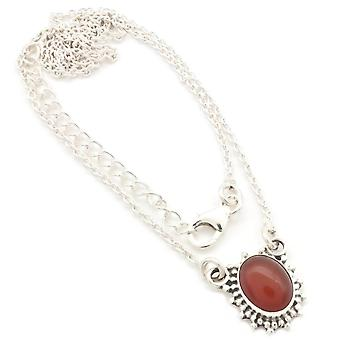 Karneol Collier 925 Silber Sterlingsilber Kette Halskette orange rot (MCO 12-16)
