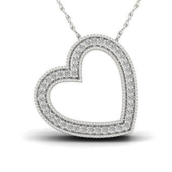 Igi certified s925 sterling silver 0.12ct tdw natural diamond heart necklace