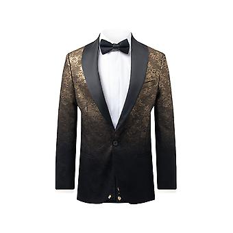 Twisted Tailor Mens Black Tuxedo Jacket Skinny Fit Gold Glitter Pattern