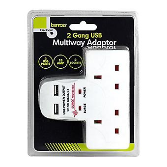 Benross 2 Gang Multiway Adapter With 2 USB ports 13A