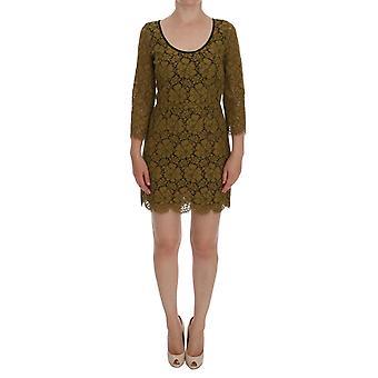 Dolce & Gabbana Yellow Floral Lace Short Mini Shift Dress