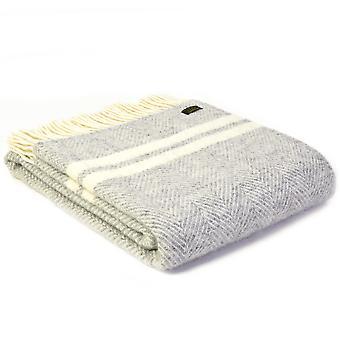 Tweedmill Pure New Wool Fishbone 2 Stripe Silver Grey & Cream Throw