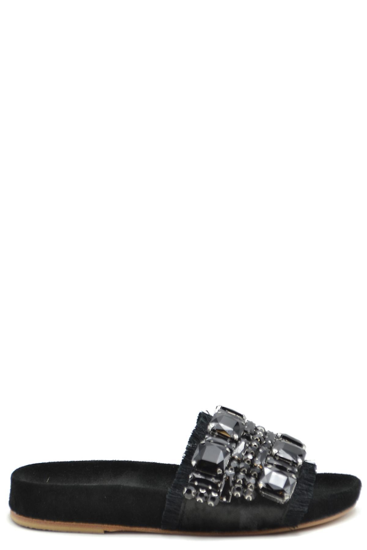 Fiorina Ezbc425001 Kvinnor's Svarta mocka sandaler - Gratis frakt