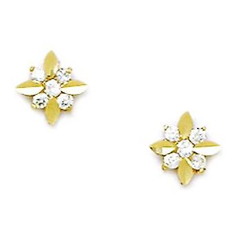 14k Yellow Gold CZ Cubic Zirconia Gesimuleerde Diamond Medium Flower Shape Schroef terug Oorbellen maatregelen 7x7mm sieraden geschenken