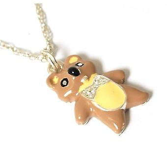 Toc Sterling Silver Kids Teddy Bear Enamel Pendant on 16 Inch Chain