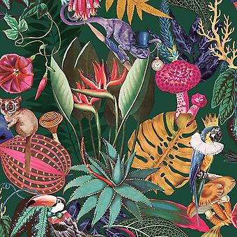 Papel de Parede Tropical Wonderland Esmeralda Green Holden WOW036