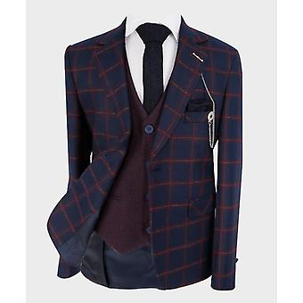 Boys Tailored fit Windowpane Check Formal Tweed Suit in Navy Blue & Maroon