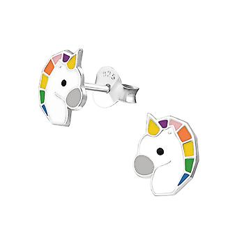 Unicorn - 925 Sterling Silver Colourful Ear Studs - W35575x