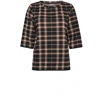 b.young Check Print Top