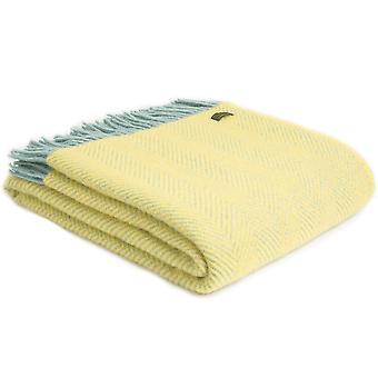 Tweedmill Pure New Wool Herringbone Lemon & Ocean Throw