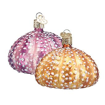 Old World Christmas Sea Urchins Gold and Pink Glass Holiday Ornaments Set of 2