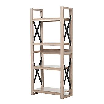 HOMCOM 4-Tier Retro Style Book Shelf Heavy Duty Organizer with Steel and Particle Board Multipurpose Bookcase for Living Room Sturdy Room Entrance