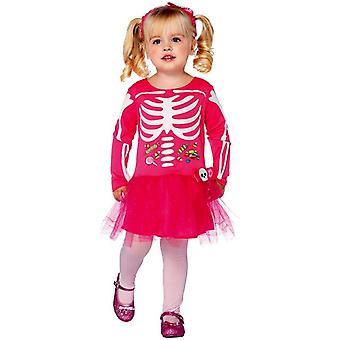 Rosa skelett småbarn dräkt