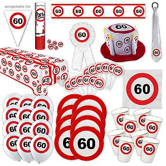 60e verjaardag partij pakket Traffic Sign Design Decoratie Nummer 16 Party Party Box Party Pakket