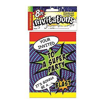 Bristol novidade Super Hero Party Convites (Pack de 8)