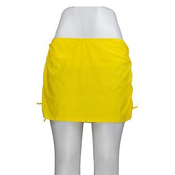 K Jordan Swimsuit Ruched Side Swim Skirt Lemon Yellow