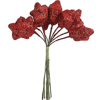 12 Wired Red Glitter Stars for Christmas Wreaths & Floristry