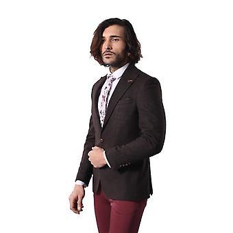 Single button pointed wide collar brown blazer