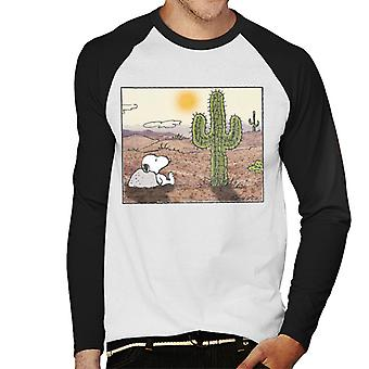 Peanuts Snoopy Cactus In The Desert Men's Baseball Long Sleeved T-Shirt