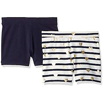 LOOK by Crewcuts Girls' 2-Pack Tumble Short, Stripe and Heart/Navy, Medium (8)