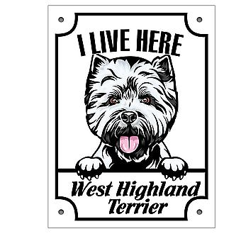 Metal plate West Highland Terrier Squinting dog sign