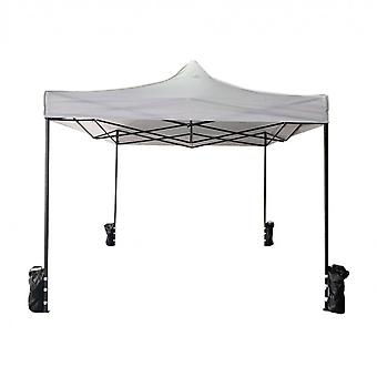 Rebecca Furniture Gazebo Herslingerbare Witte 4 Gewichten Metaal Polyester 3x3