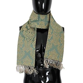 Dolce & Gabbana Green Gold Jacquard Cotton Scarf -- MS16800176