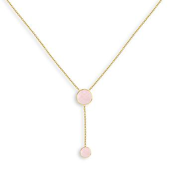 ADEN Gold Plated Faceted Pink Quartz Ronde Vorm Ketting (id 4424)