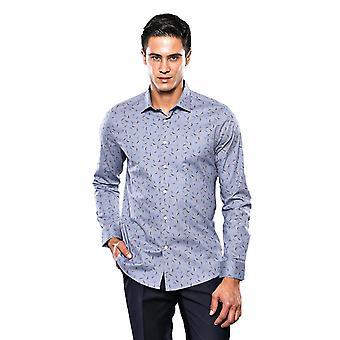 Patterned grey long sleeve men's shirt   wessi