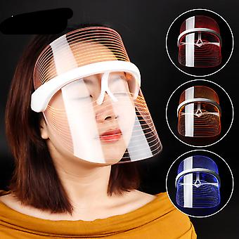 3 Colors LED Photon Light Therapy -Facial Mask Wireless Use Lighten Melanin Whitening Anti-aging Skin Care