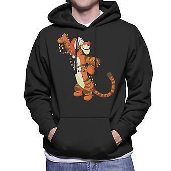Disney Christmas Tigger Holding Festliga Lights Men's Hooded Sweatshirt
