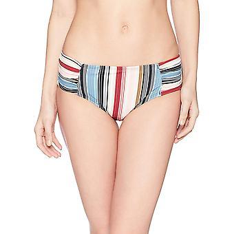 Marca - Coastal Blue Women's Swimwear Bikini Bottom, Raisin/Blue Strip...