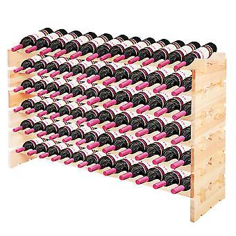 72 Bottles Stackable Wine Storage Rack Wood Wine Display Rack Shelves Holder