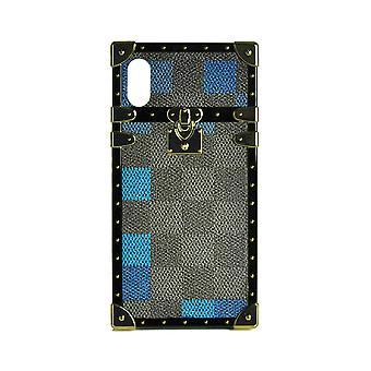 telefon tilfelle eye-trunk rutete firkantet for iPhone X (blå)