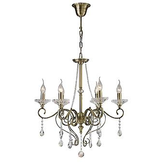 Geïnspireerd Diyas - Weegschaal - Plafond hanger Kroonluchter 6 Licht Antieke Messing, Crystal