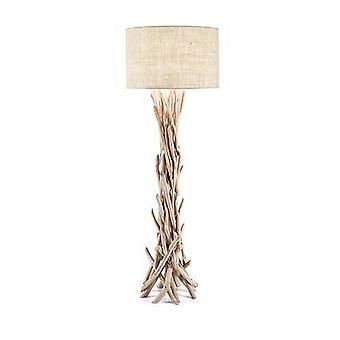 1 Lâmpada de Piso Leve Marrom, Bege com Sombra, E27