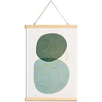 JUNIQE Print - Gold Foam - Abstract & Geometrische poster in cream white & gold