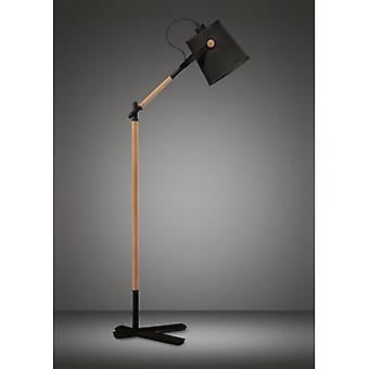 Nordica Floor Lamp With Black Shade 1 Bulb E27, Matt Black / Beech With Black Shade