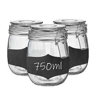 Glass Storage Jars with Airtight Clip Lid and Chalkboard Stickers - 750ml Set - White Seal - Pack of 3