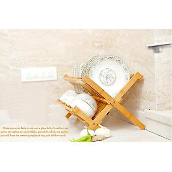 Bamboo Folding Dishes Rack Double Layers Dishes Drainer For Kitchen Dishes Accessories