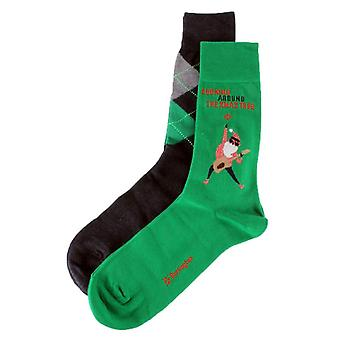 Burlington Christmas 2 Pack Gift Box Socks - Vert/Rouge/Gris