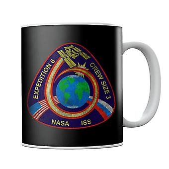 NASA ISS Expedition 6 STS 113 Mission Badge Distressed Mug